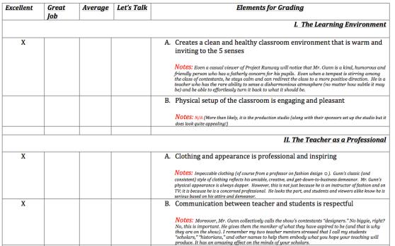 Tim Gunn Teacher Review Page 1